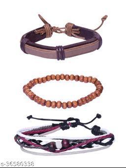 (COMBO of 3) Fancy Rakhi Designs Adjustable Faux Leather Wristband Stretchable Wood Beads Bracelet For Brother/Bhaiya/Bhai/Bro Mauli Threads On This For Raksha Bandhan