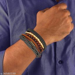 (Combo Of 5) Rakhi Designs Faux Leather Stretchable wooden beads Wristband Bracelet For Brother/Bhaiya/Bhai/Bro Mauli Threads On This Raksha Bandhan