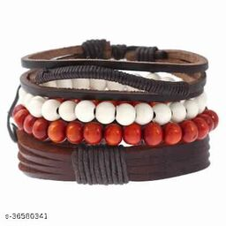 (Combo Of 4) Rakhi Designs Faux Leather Stretchable Wristband Wooden Beads Bracelet For Brother/Bhaiya/Bhai/Bro Mauli Threads On This For Raksha Bandhan