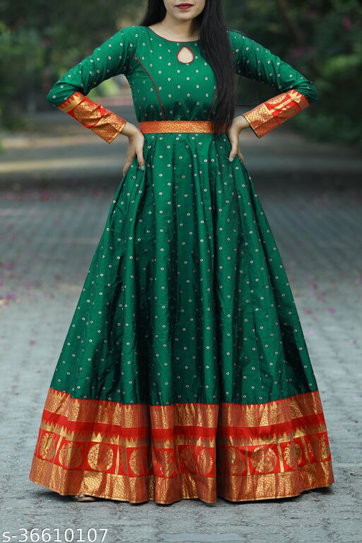 Designer Green Colored Party Wear Readymade Cotton Gown