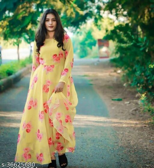 Gorgeoue Yellow Colored Party Wear Gown