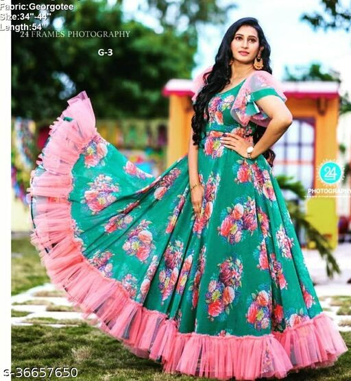party wear printed designer gown