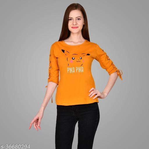 Printed Women Round Neck Yellow T-Shirt