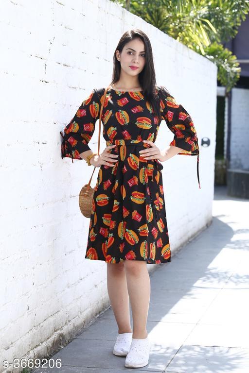 Women's Printed Black Cotton Dress