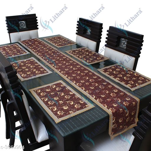 Appliance Covers Lithara Waterproof Multicolor Design Table Runner With Mats,(6 Piecec Placemats+1 Table runner) for Dining Table,Mats-17