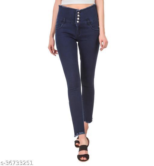 Women/Ladies Slim Fit Dark Blue Furfur/Fringed Hem 4 Button Jeans (Pack of 1, Dark Blue)