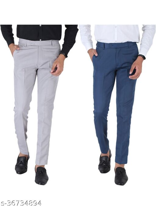 SREY Olive Green And Airforce Blue Combo Slim Fit Formal Trouser For Men