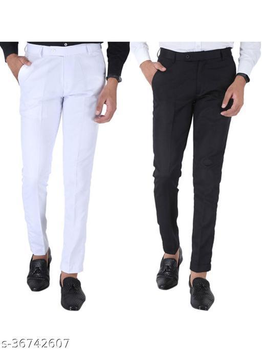 SREY White And Black Combo Slim Fit Formal Trouser For Men
