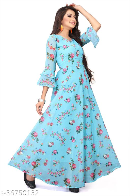 ETHNIC AUQA BLUE COLORED PARTYWEAR PRINTED GEORGETTE GOWN