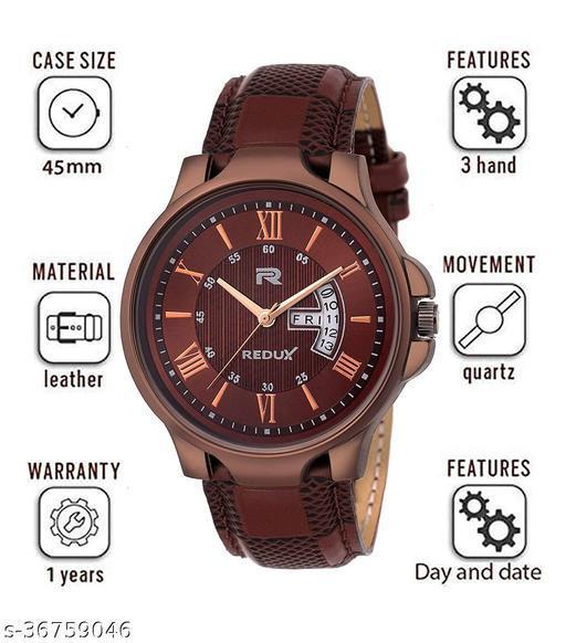 Analog Brown Linear Designer Dial Men's & Boy's Watch -  Redux Brown
