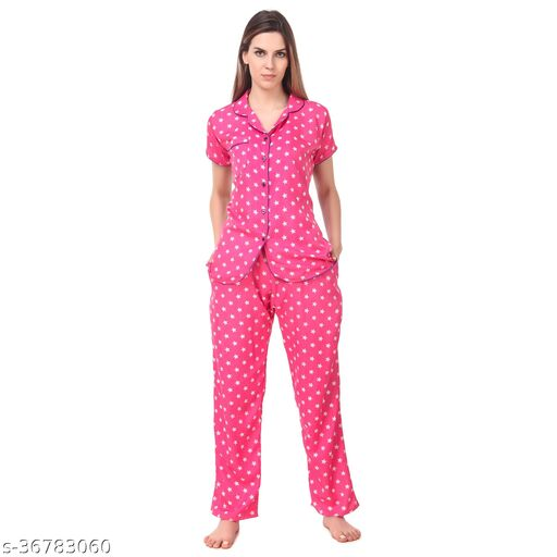 OVIDA Women Night Suit Set Pink Star Shirt & Lower Set For Girl's