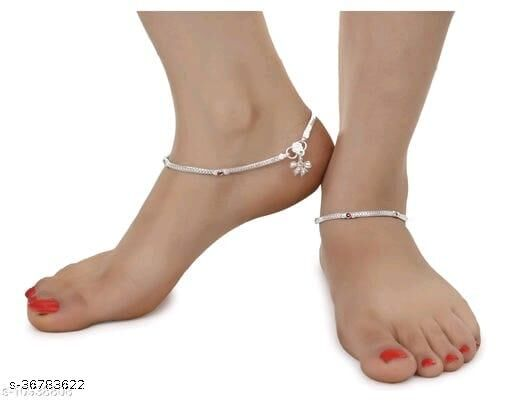 Aanyacentric 1 Pair Pure Silver Plated White Metal Anklets Indian Traditional Ethnic Fancy Payal for Women Girls