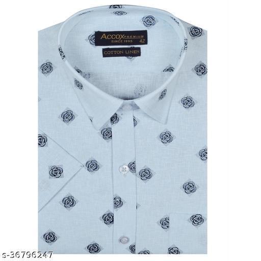 ACCOX Men's Half Sleeves Regular Fit Cotton Linen Formal Printed Checkred Shirts