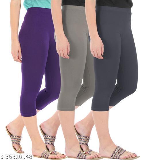 Pure Fashion Combo Pack of 3 Skinny Fit 3/4 Capris Leggings for Women Purple Ash Grey