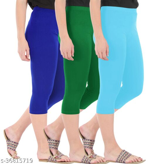 Pure Fashion Combo Pack of 3 Skinny Fit 3/4 Capris Leggings for Women Royal Blue Jade Green Sky Blue