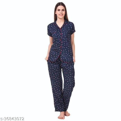BOMBSHELL Women Night Suit Set Blue Heart Shirt & Lower Set For Girl's