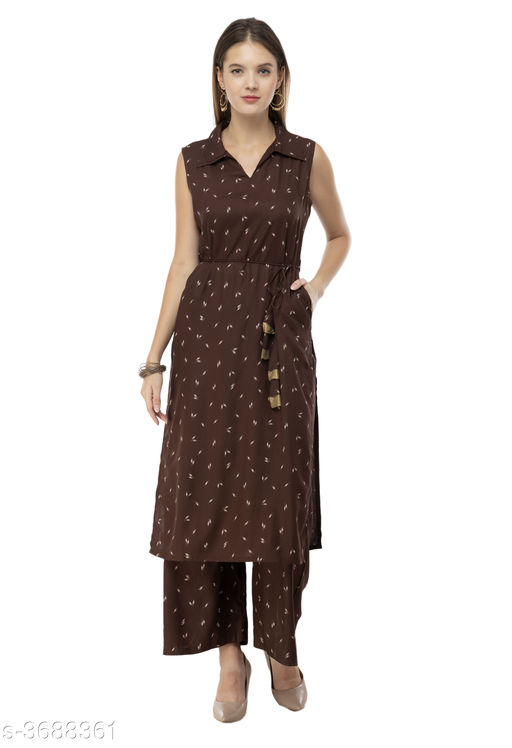 Kurta Sets  Printed Kurti Palazzo Set  *Fabric* Kurti   *Sleeves* Sleeves Are Not Included   *Size* Kurti - S-36 in ,M - 38 in, L - 40 in, XL - 42 in, XXL - 44 in, Palazzo -  S-28 in ,M - 30 in, L - 32 in, XL - 34 in, XXL - 36 in   *Length* Kurti - Up to 38 in, Palazzo - Up To 40 in   *Type* Stitched   *Description* It Has 1 Piece Of Women's Kurtis With 1 Piece Of   Palazzo   *Work* Kurti - Printed ,  Palazzo - Printed  *Sizes Available* S, M, L, XL, XXL   Supplier Rating: ★4 (19232) SKU: RF-2632  Free shipping is available for this item. Pkt. Weight Range: 500  Catalog Name: Elegant Printed Kurti Palazzo Set Vol 4  - Riya Fashion Code: 968-3688361--