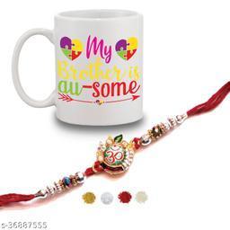 BANDHAN Happy Rakshabandhan Gifts for brother and Sister| Brother is awsome quote printed coffee mug (330ml)and Rakhi with roli chandan haldi|raksha bandhan gifts for sister and brother
