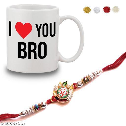 Bandhan Rakhi Gifts for Brother I Love Bro Quote Printed Cream Coffee Mug 330 ml, Rudraksha Rakhi, Roli &etc - Rakshabandhan Gifts for Brother, Rakhi for Brother with Gifts | unique rakhis online