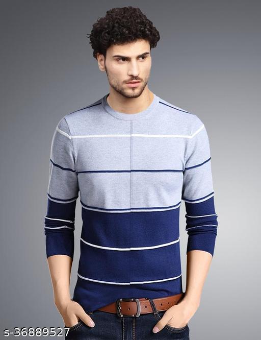 Eyebogler Men's Regular Fit Cotton Fabric Round Neck Casual Wear Striped Pattern Long Sleeves Tshirt