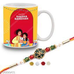 Happy Rakshabandhan Quote Printed Gift Set Of Mug 330 Ml,  Rakhi , Tika, Chawal  For Men/Boys   swastik designer rakhi online   Brother and Sister