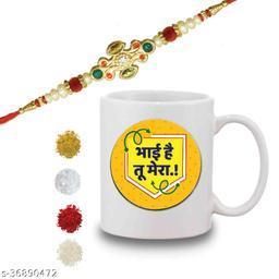 BANDHAN Raksha Bandhan Gift Set of Stone Studded Rakhi & Bhai Hai Tu Mera Hindi Lettering Quote Printed Ceramic Coffee Mug for Brother Bhaiya Bhai - (325ml, White)   Rakhi Gift