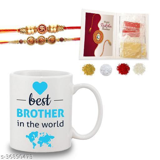 Bandhan Best brother in the world Quote Printed Gift Set Of Mug 330 Ml, 2 set of fancy Rakhi , Tika, Chawal & Haldi For Men/Boys   Best Rakhi Hamper gift