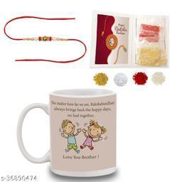 BANDHAN Rakhi Gifts for Brother Love You Brother Quote White Coffee Mug 330 ml - Raksha Bandhan Gift for Sister, Rakhi Gift for Sister, Rakhi for Brother, Best Gift for Brother, Rakshabandhan Mug