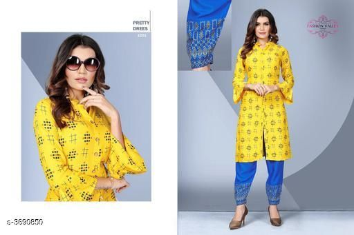 Kurta Sets Stylish Rayon Women's Kurta Set  *Fabric* Kurti -  Rayon, Palazzo -  Rayon   *Sleeves* 3/4 Sleeves Are Included   *Size* Kurti - L - 40 in, XL - 42 in,XXL - 44 in, Palazzo - L - 32 in, XL - 34 in, XXL - 36 in   *Type* Stitched   *Length* Kurti - Up To 41 in, Palazzo - Up to 40 in   *Description* It Has 1 Piece Of Women's Kurti & 1 Piece Of Palazzo   *Work* Kurti - Foil Printed , Palazzo - Foil Printed  *Sizes Available* L, XL, XXL   SKU: SRWKS_1 Free shipping is available for this item. Pkt. Weight Range: 500  Catalog Name: New Stylish Rayon Women's Kurta Sets Vol 7 - URBAN TRENDS Code: 9221-3690850--