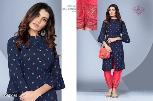 Kurta Sets Stylish Rayon Women's Kurta Set  *Fabric* Kurti -  Rayon, Palazzo -  Rayon   *Sleeves* 3/4 Sleeves Are Included   *Size* Kurti - L - 40 in, XL - 42 in,XXL - 44 in, Palazzo - L - 32 in, XL - 34 in, XXL - 36 in   *Type* Stitched   *Length* Kurti - Up To 41 in, Palazzo - Up to 40 in   *Description* It Has 1 Piece Of Women's Kurti & 1 Piece Of Palazzo   *Work* Kurti - Foil Printed , Palazzo - Foil Printed  *Sizes Available* L, XL, XXL   SKU: SRWKS_2 Free shipping is available for this item. Pkt. Weight Range: 500  Catalog Name: New Stylish Rayon Women's Kurta Sets Vol 7 - URBAN TRENDS Code: 9221-3690851--