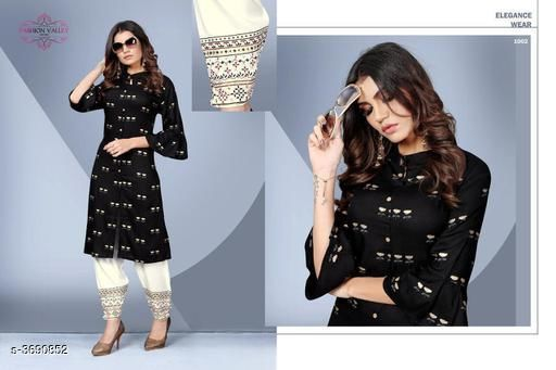 Kurta Sets Stylish Rayon Women's Kurta Set  *Fabric* Kurti -  Rayon, Palazzo -  Rayon   *Sleeves* 3/4 Sleeves Are Included   *Size* Kurti - L - 40 in, XL - 42 in,XXL - 44 in, Palazzo - L - 32 in, XL - 34 in, XXL - 36 in   *Type* Stitched   *Length* Kurti - Up To 41 in, Palazzo - Up to 40 in   *Description* It Has 1 Piece Of Women's Kurti & 1 Piece Of Palazzo   *Work* Kurti - Foil Printed , Palazzo - Foil Printed  *Sizes Available* L, XL, XXL   SKU: SRWKS_3 Free shipping is available for this item. Pkt. Weight Range: 500  Catalog Name: New Stylish Rayon Women's Kurta Sets Vol 7 - URBAN TRENDS Code: 9221-3690852--