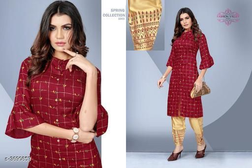 Kurta Sets Stylish Rayon Women's Kurta Set  *Fabric* Kurti -  Rayon, Palazzo -  Rayon   *Sleeves* 3/4 Sleeves Are Included   *Size* Kurti - L - 40 in, XL - 42 in,XXL - 44 in, Palazzo - L - 32 in, XL - 34 in, XXL - 36 in   *Type* Stitched   *Length* Kurti - Up To 41 in, Palazzo - Up to 40 in   *Description* It Has 1 Piece Of Women's Kurti & 1 Piece Of Palazzo   *Work* Kurti - Foil Printed , Palazzo - Foil Printed  *Sizes Available* L, XL, XXL   SKU: SRWKS_4 Free shipping is available for this item. Pkt. Weight Range: 500  Catalog Name: New Stylish Rayon Women's Kurta Sets Vol 7 - URBAN TRENDS Code: 9221-3690853--