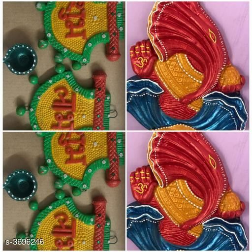 Festive Diyas & Candles Home Trendy Festive Diwali Diyas  *Material* Terracotta  *Size (L X B X H)* Wall Hanging Ganesh With Attched Diya - 4 in x  in x 6 in, (L X H) Shubh Labh - 4 in x 5 in  *Description* It has 2 Pieces Of Ganesh Diya and 2 Set of Shubh Labh With 6 Diyas  *Sizes Available* Free Size *    Catalog Name: Dream Home Trendy Festive Diwali Diyas Vol 5 CatalogID_515646 C128-SC1604 Code: 426-3696246-