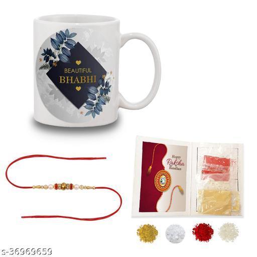 Rakshabandhan Gifts for Bhabhi  Handsome Bhabhi Quote printed Coffee Mug 330 ml - Birthday Gift for Bhabhi, Raksha Bandhan Gifts, Best Silver Rakhi Gifts for Bhabhi