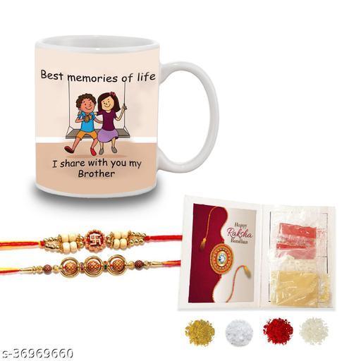 Bandhan Quote Printed Gift Set Of Mug 330 Ml  2 set of fancy Rakhi   Tika  Chawal & Haldi For Men/Boys   Best Rakhi Hamper gift for Sister and Brother Rakhi With Gifts