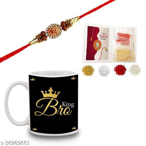 BANDHAN Best Rakhi Gift for Brother, RakshaBandhan Gift Idea for Brother - King Bro Quotes Printed White Ceramic Coffee Mug with Rakhi | rakhi gift for brother