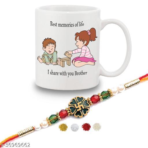 Happy Rakshabandhan Gift Set Of Mug 330 Ml, Crystal Rakhi , Tika, Chawal For Men/Boys   Little brother and sister rakhi  Special rakhi Gift for brother