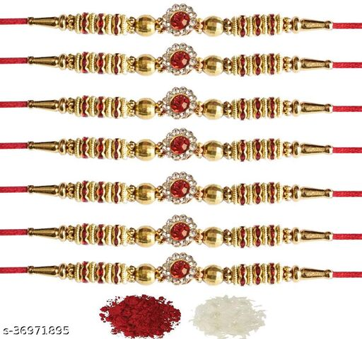 Tvesa Creations Send Rakhi for Brother/ Bhai/ Bro/ Kids/ Bhabhi White American Diamond Colourful Stone on Wooden Beads Thread Rakhi With Roli Chawal (Pack of 7 Rakhi)