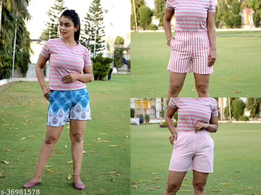 Ayan Summer Wear Cotton Shorts Combo of 3