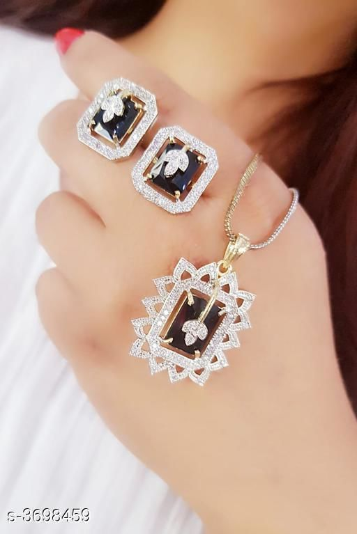 Trendy American Diamond Pandant Set