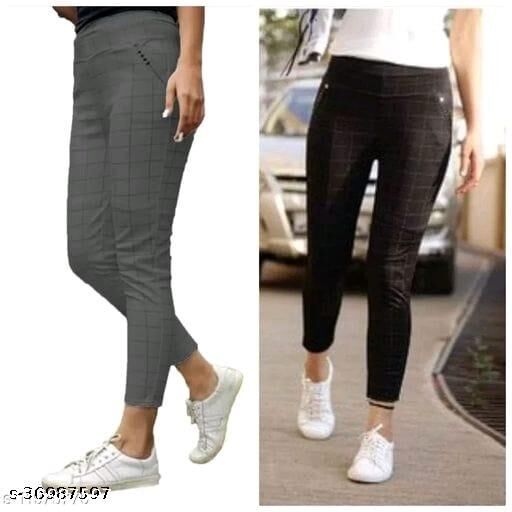 WOMEN'S STYLISH JEGGINGS_TRACK PANTS FOR WOMEN/GIRLS_COMBO PACK OF 2