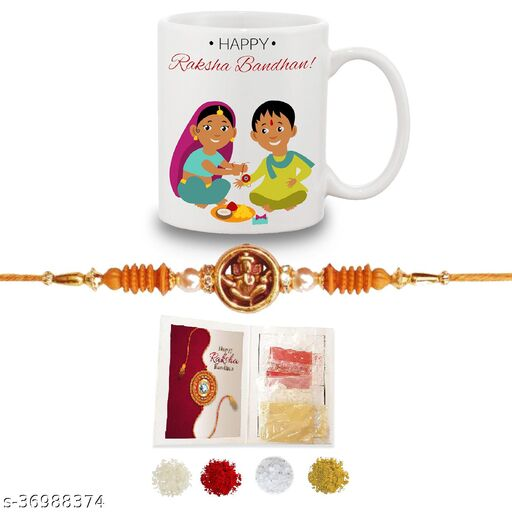 BANDHAN Happy Rakshabandhan Gifts for brother and Sister| Happy Rakshabandhan printed coffee mug (330ml)and Rakhi with roli chandan haldi|raksha bandhan gifts for sister and brother Rakhi With Gifts