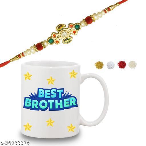 Best Brother Quote Printed Gift Set Of Mug 330 Ml,  Rakhi , Tika, Chawal & Greeting Card For Men/Boys | rakhi online | buy rakhi online