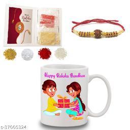 BANDHAN Happy Rakshabandhan Gifts for brother and Sister| Happy Rakshabandhan printed coffee mug (330ml) and rakhi with roli chandan haldi|raksha bandhan gifts for sister and brother