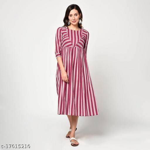 JAIPUR VASTRA Women Cotton Striped Print Western Wear Dress (Pink)