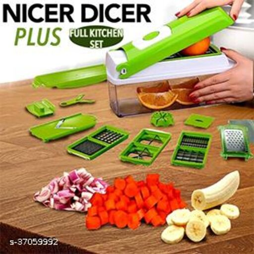 12 in 1 (green) multi vegetable cutter, fruit slicer and Vegetable & Fruit Grater & Slicer(12 in 1 cutter set, chopper, grater, peeler, Slicer, vegetable cutter, fruit cutter)