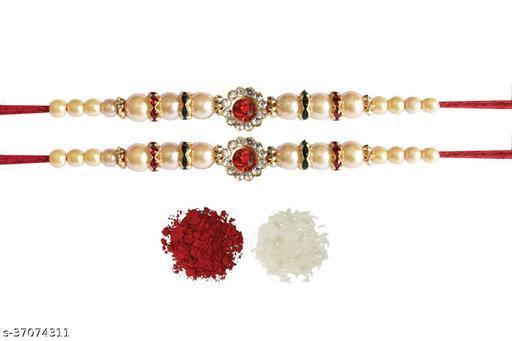 Tvesa Creations Send Rakhi for Brother/ Bhai/ Bro/ Kids/ Bhabhi White American Diamond Colourful Stone on Wooden Beads Thread Rakhi With Roli Chawal (Pack of 2 Rakhi)