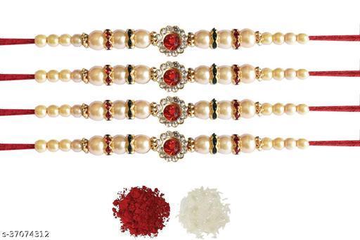 Tvesa Creations Send Rakhi for Brother/ Bhai/ Bro/ Kids/ Bhabhi White American Diamond Colourful Stone on Wooden Beads Thread Rakhi With Roli Chawal (Pack of 4 Rakhi)