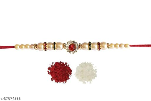 Tvesa Creations Send Rakhi for Brother/ Bhai/ Bro/ Kids/ Bhabhi White American Diamond Colourful Stone on Wooden Beads Thread Rakhi With Roli Chawal Tilak
