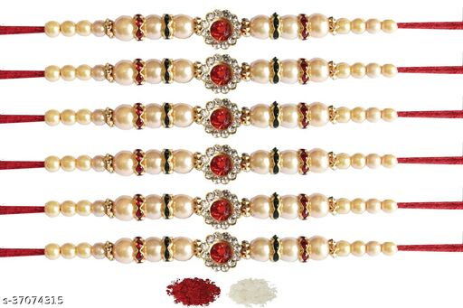 Tvesa Creations Send Rakhi for Brother/ Bhai/ Bro/ Kids/ Bhabhi White American Diamond Colourful Stone on Wooden Beads Thread Rakhi With Roli Chawal (Pack of 6 Rakhi)
